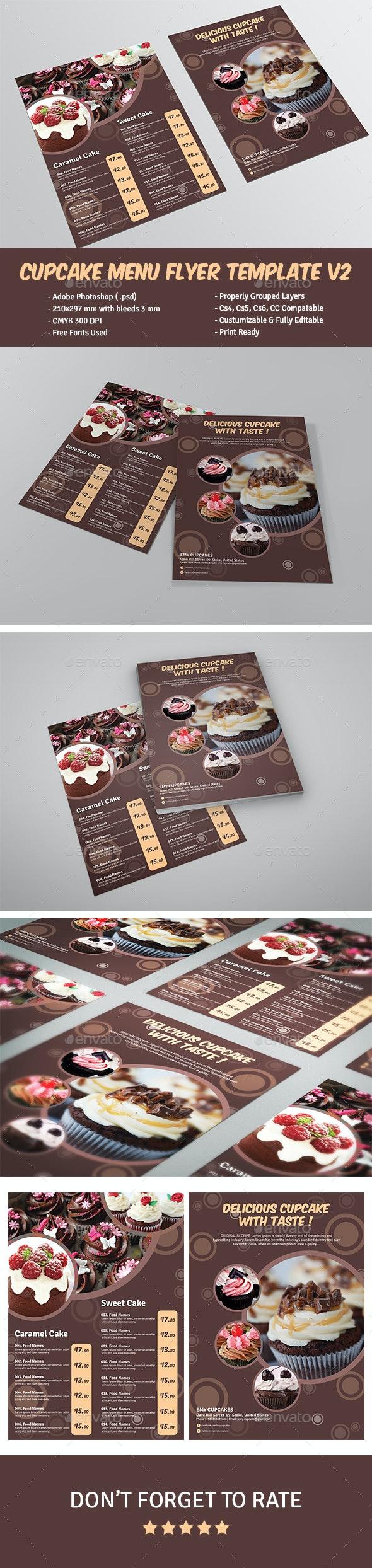 Cupcake Menu Flyer Template V2 - Food Menus Print Templates