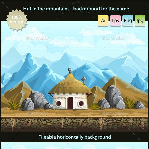 Hut in the mountains - seamless background