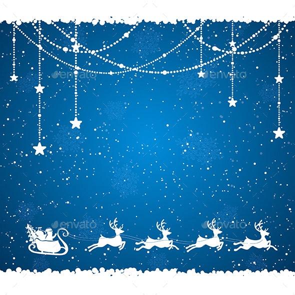 Blue Christmas Background with Santa - Christmas Seasons/Holidays