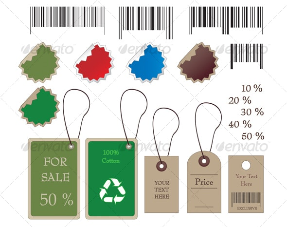 Barcodes, stickers, tally and labels - Business Conceptual