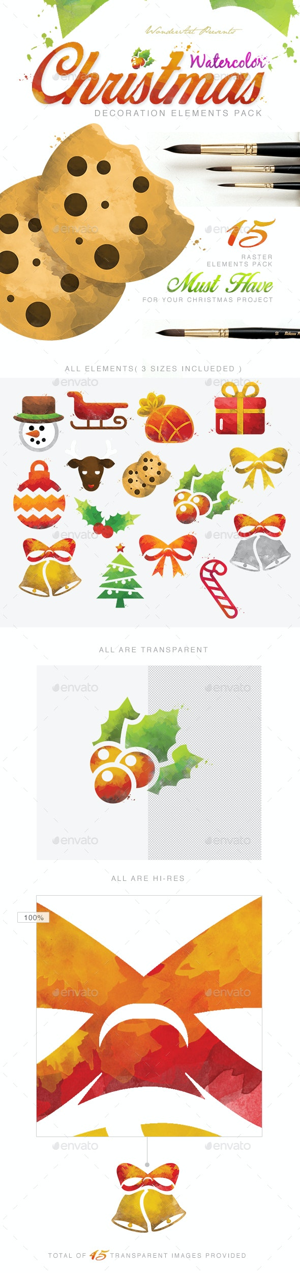 Watercolor Christmas Decoretive Elements Pack - Miscellaneous Illustrations