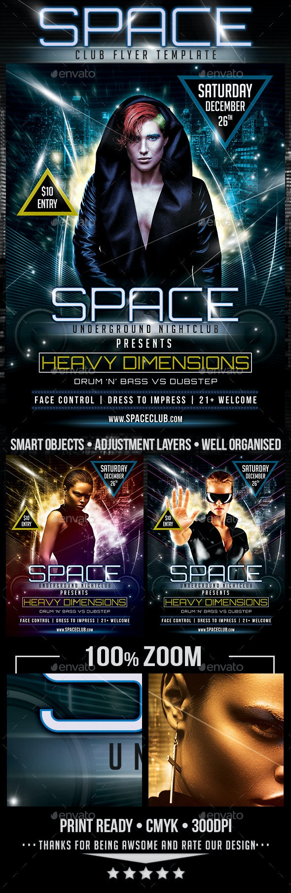 Space Drum n Bass Flyer Template - Clubs & Parties Events