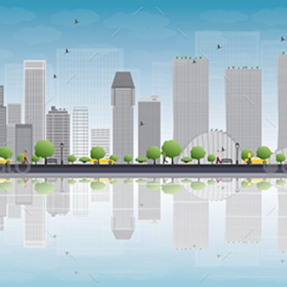 Singapore Skyline with Gray Landmarks