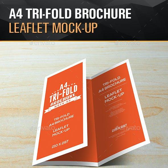 Tri-Fold Leaflet A4 brochure Mockups