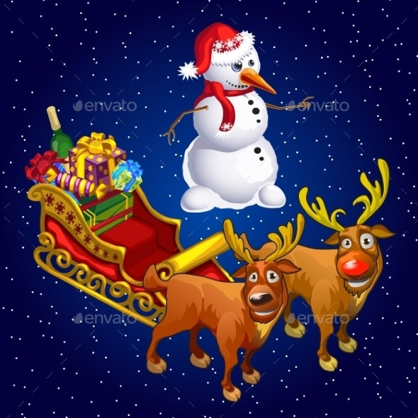 Snowman And Two Reindeer With Sledge With Gifts - New Year Seasons/Holidays