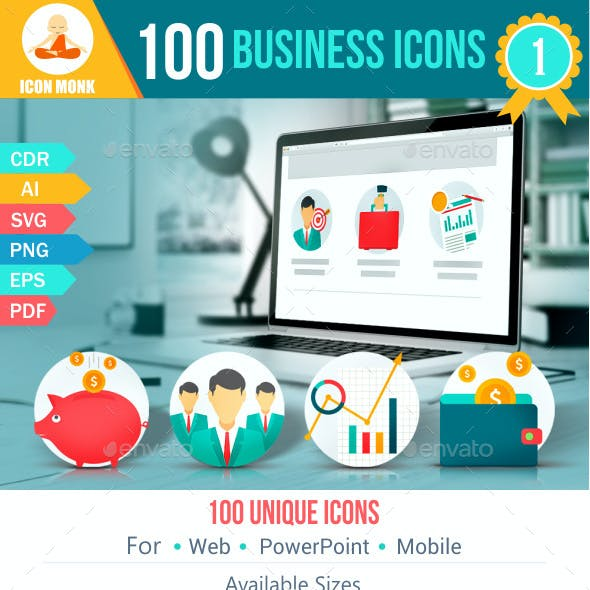 100 Business Flat Icons