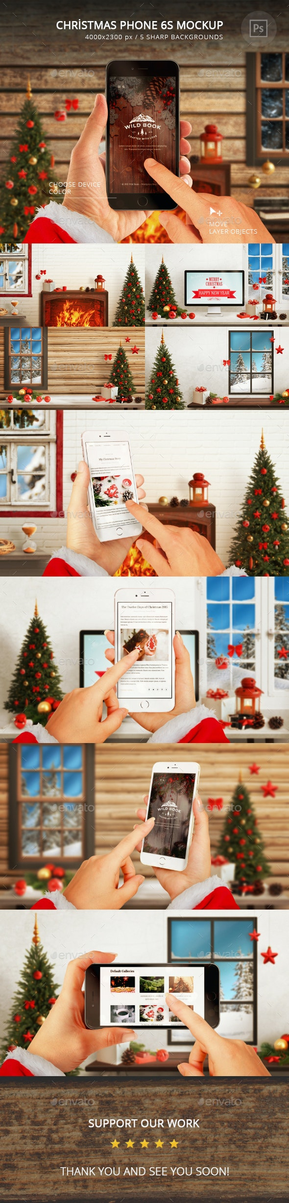 Christmas Phone 6S Mockup - Mobile Displays