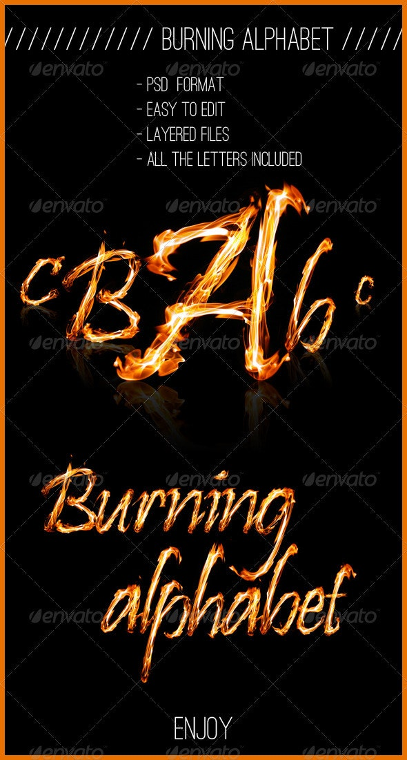 Alphabet in Fire - Only Initials - Miscellaneous Graphics
