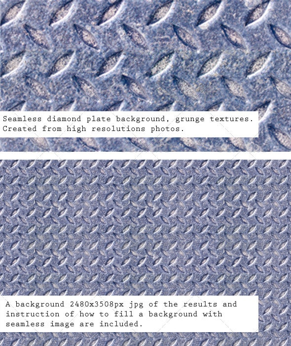 Seamless Metal Texture, Diamond Plate Patterns - Metal Textures