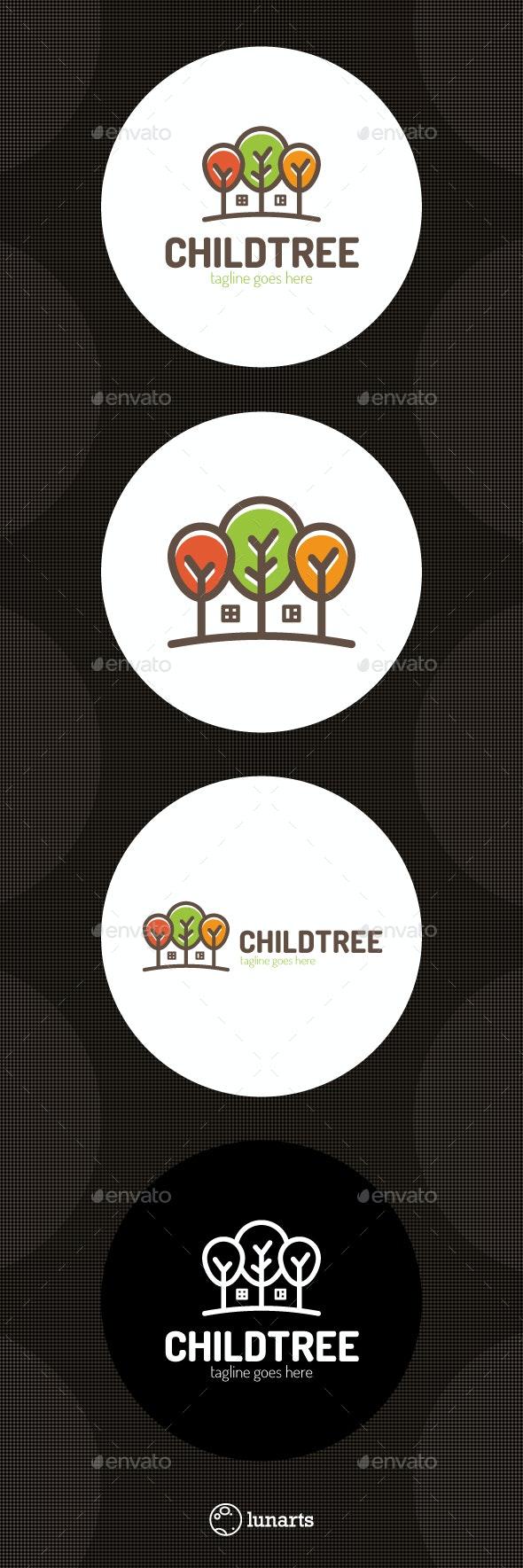 Tree House Logo - Children Home - Nature Logo Templates