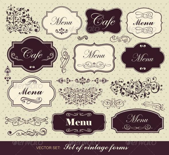 Set of Calligraphic Design Elements - Flourishes / Swirls Decorative