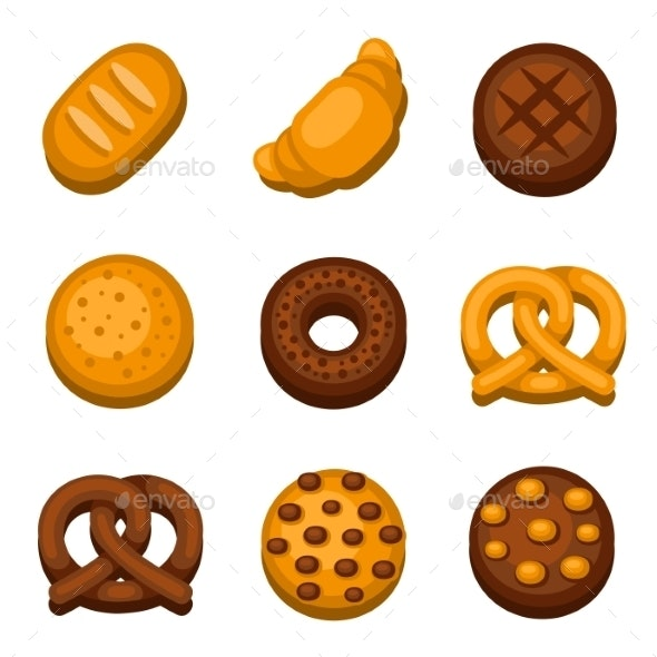 Bakery And Bread Icons Set. Vector - Food Objects
