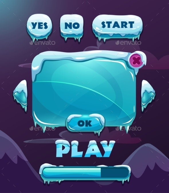 Cartoon Winter Game User Interface - Web Elements Vectors