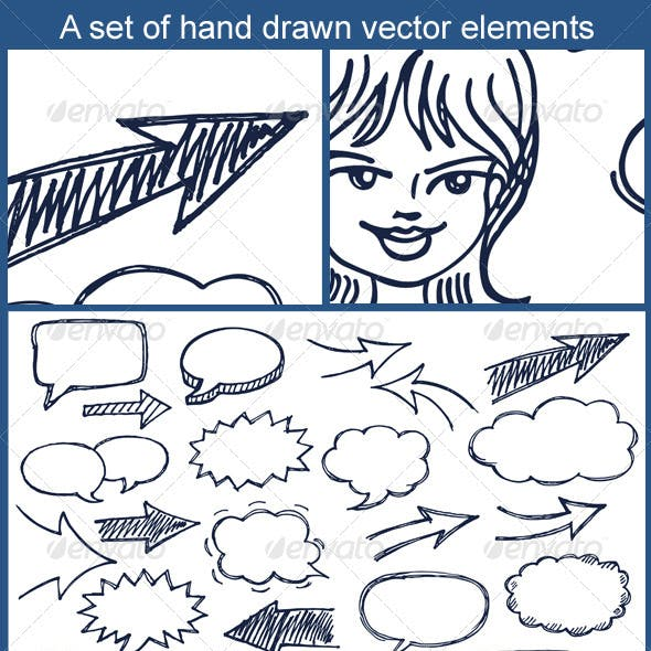 Hand Drawn Arrows and Speech Bubbles Illustration