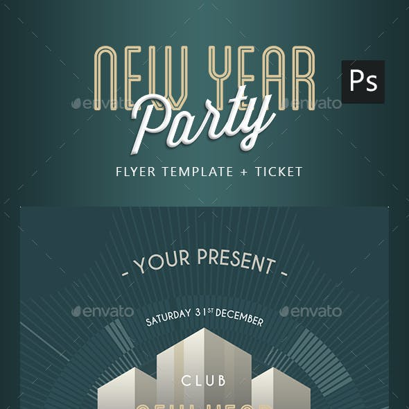Art Deco New Year Party Flyer