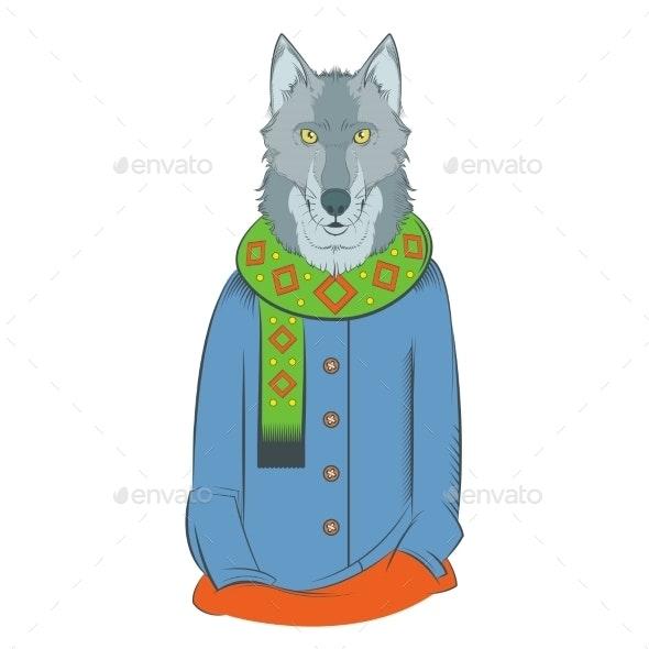 Colourful Winter Wolf - Christmas Seasons/Holidays