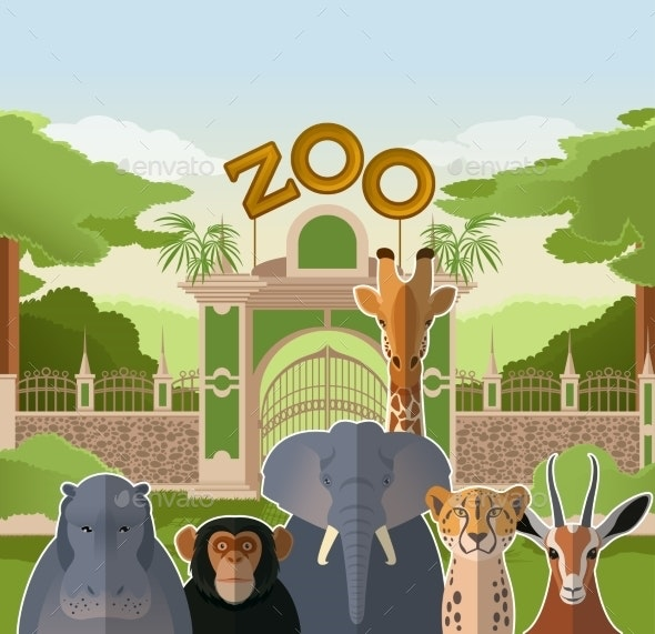 Zoo Gate with African Flat Animals - Animals Characters