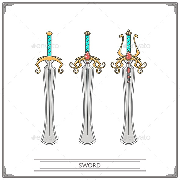 Rounded Fantasy Sword - Man-made Objects Objects