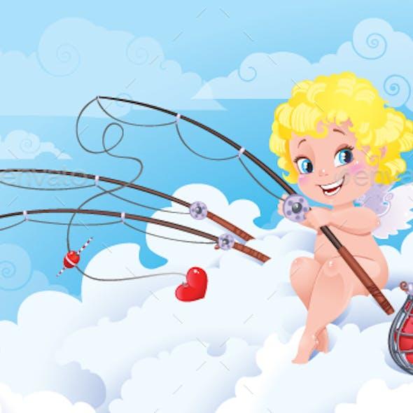 Cupid the Fisherman St.Valentine Cartoon