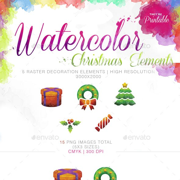Watercolor Christmas Decoration Elements