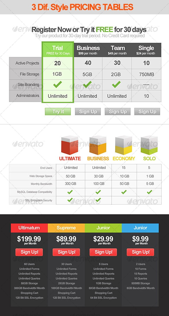 3 Style Modern Pricing Table designs - Web Elements