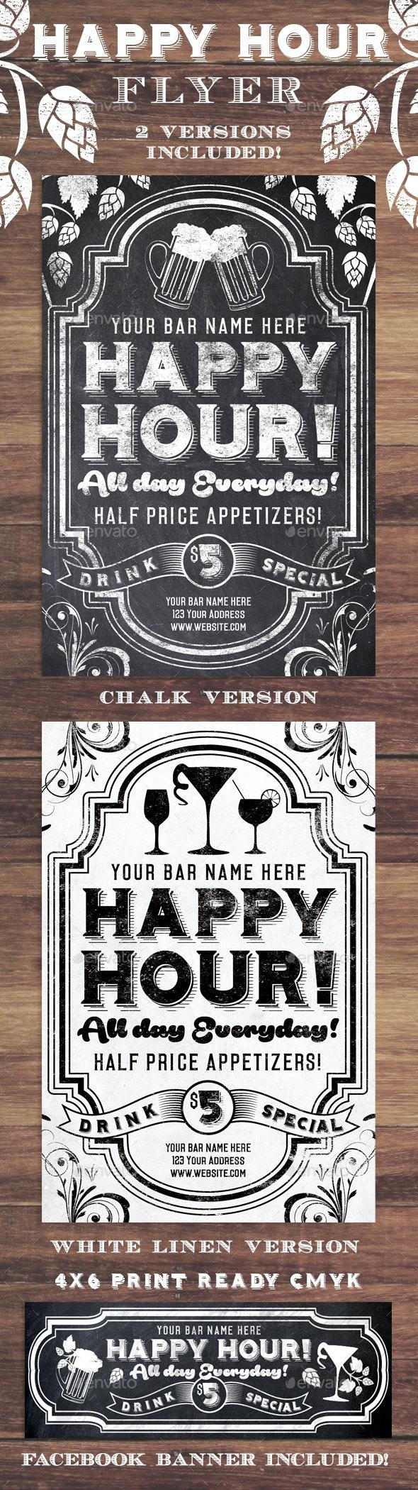 Chalk Happy Hour Flyer Invite - Restaurant Flyers