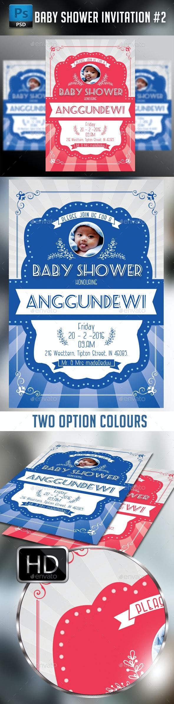 Baby Shower Invitation #2 - Cards & Invites Print Templates
