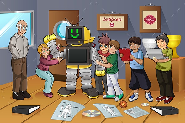 Students Working on Robot Experiment - People Characters