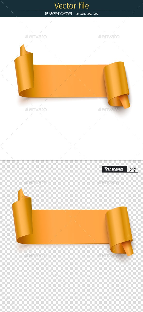 Curved Paper Yellow Banner - Decorative Vectors