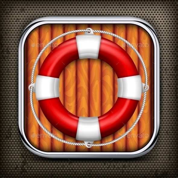 Red Life Buoy on Wooden - Concepts Business