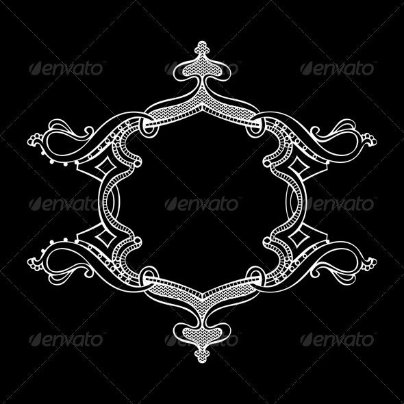 Black And White Ornate Heraldic Art Deco Quad - Retro Technology