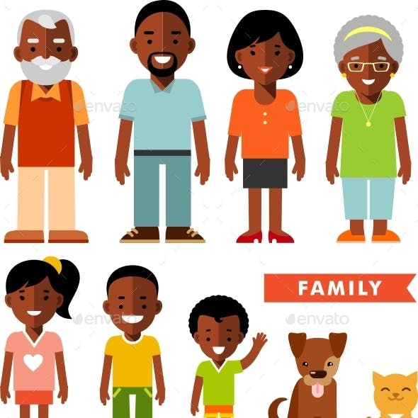 Set of African American Family