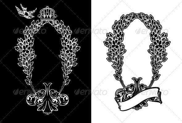 One Color Royal Ornate Vertical Heraldic Wreath - Retro Technology