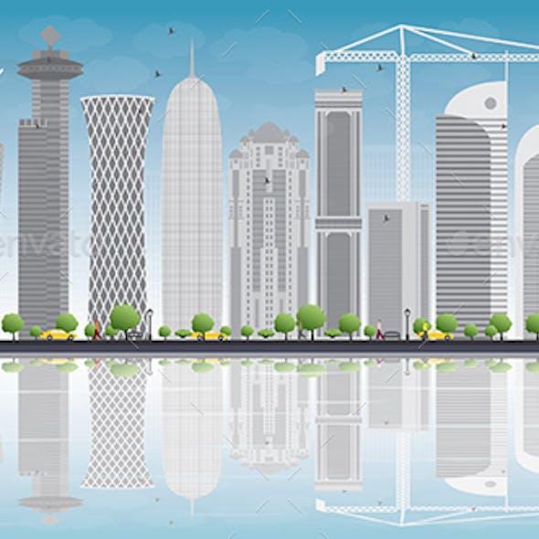 Doha Skyline with Gray Skyscrapers