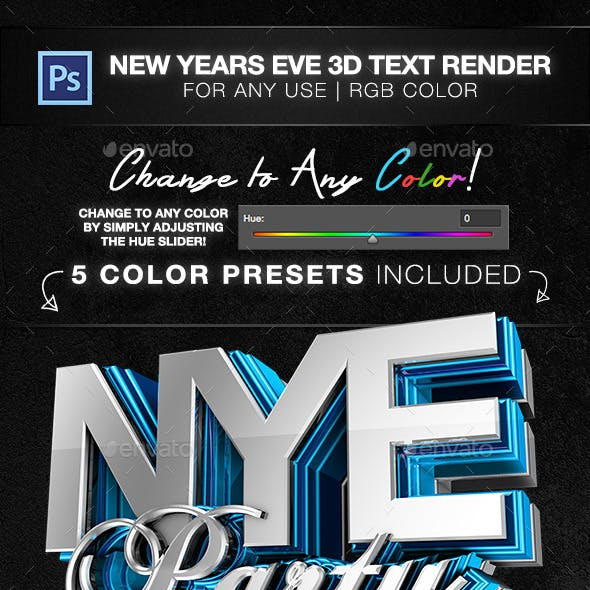 New Years Eve 3D Text Render