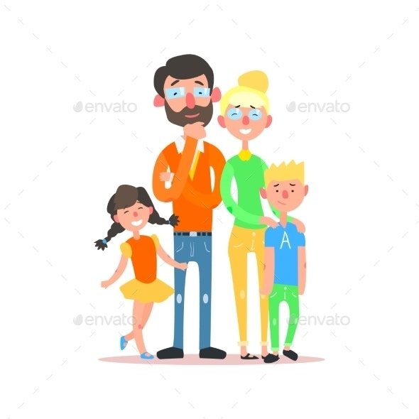 Happy Family With Parents Wearing Glasses. Vector - People Characters