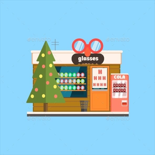 Glasses Shop Front In Christmas. Vector