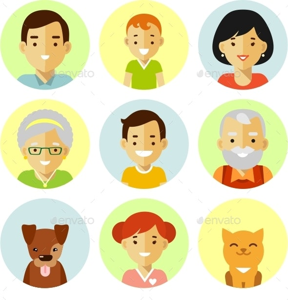 Set Of Family Avatars Icons - People Characters