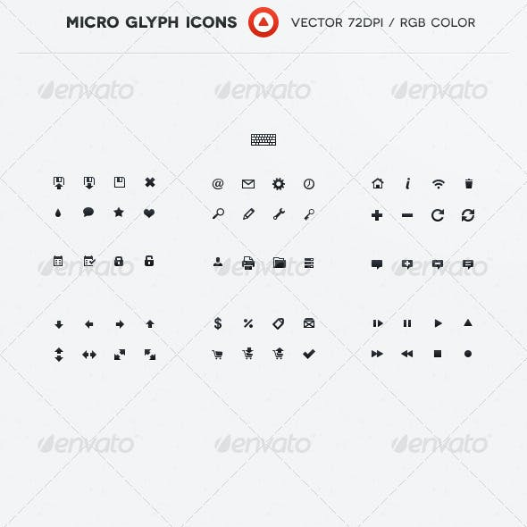 60+1 Micro Glyph Icons