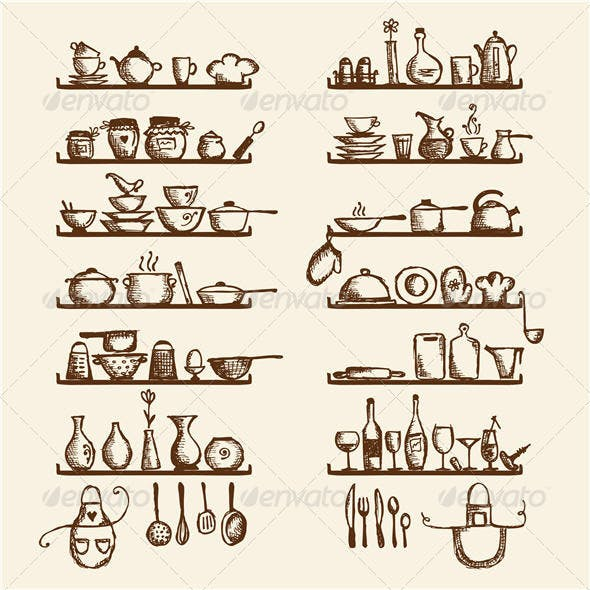 Kitchen Utensils on Shelves, Sketch Drawing