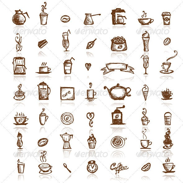 Design Elements for Coffee Company, Hand Drawing - Food Objects
