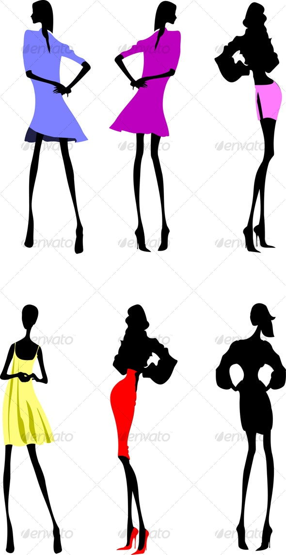 Six Fashion Girls Silhouette - People Characters