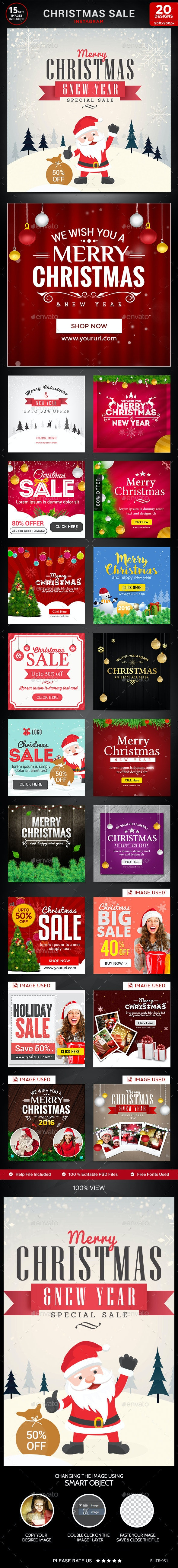Christmas Sale Instagram Templates - 20 Designs - Banners & Ads Web Elements
