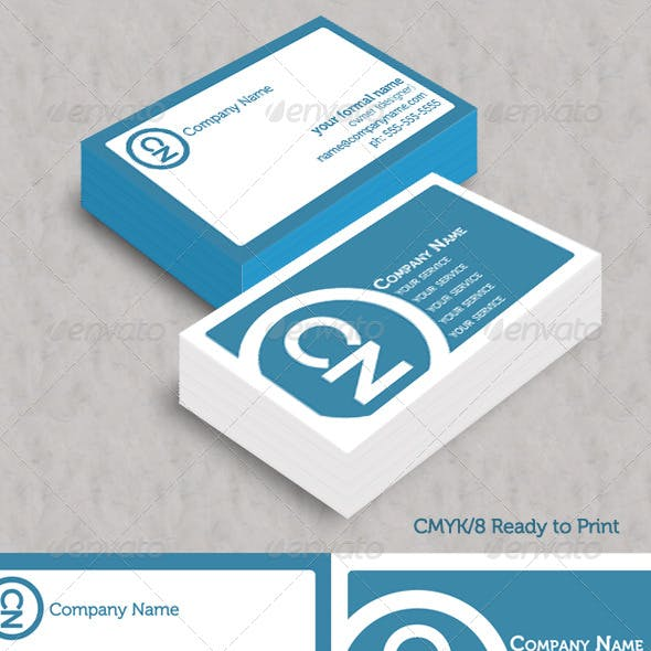 Simple Blue Initials Business Cards