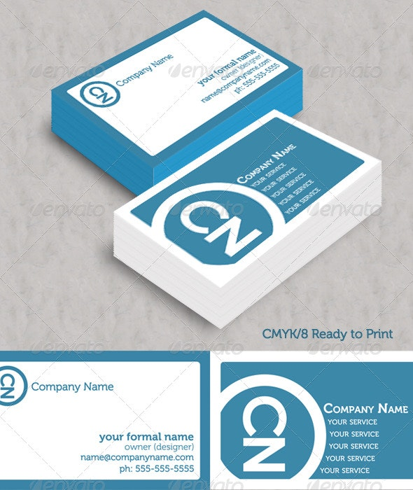 Simple Blue Initials Business Cards - Corporate Business Cards