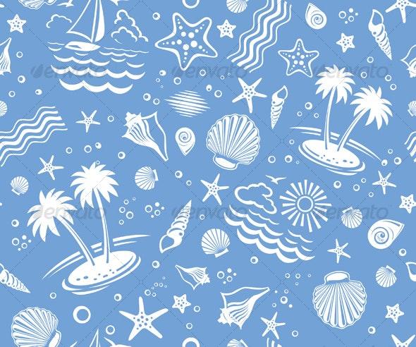Seamless Beach Vector Pattern - Backgrounds Decorative