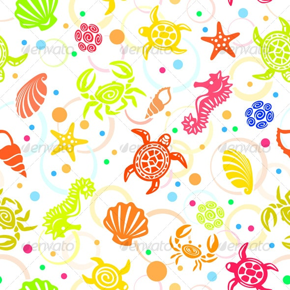 Seamless Tropical Sea-Life Vector Pattern - Patterns Decorative