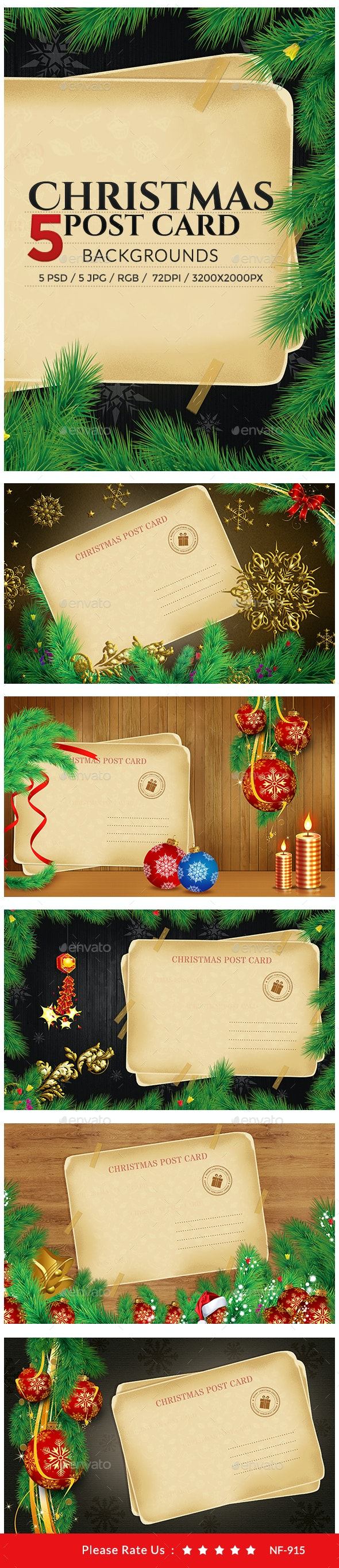 Christmas Postcard Backgrounds - 5 Designs - Backgrounds Graphics
