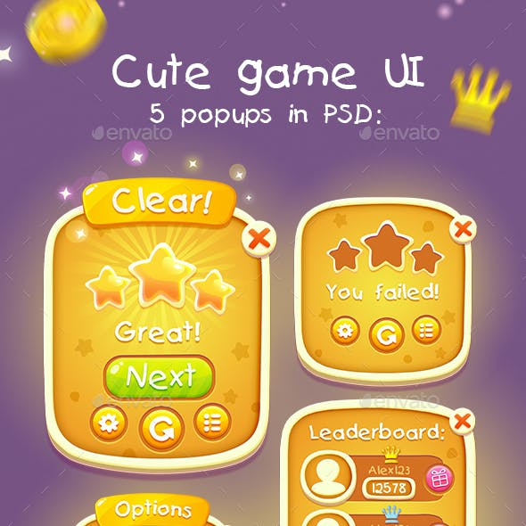 Casual Cute Game UI Asset