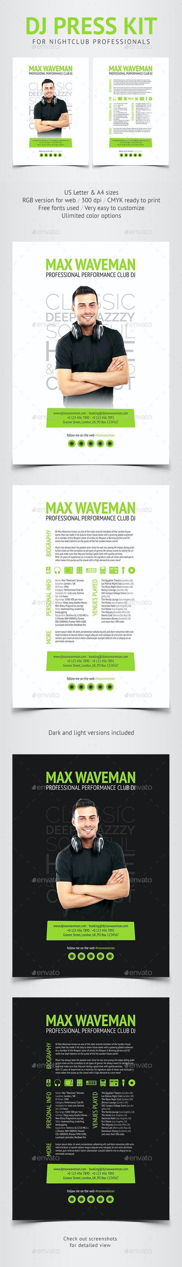 Groove - DJ Press Kit / Resume PSD Template - Resumes Stationery